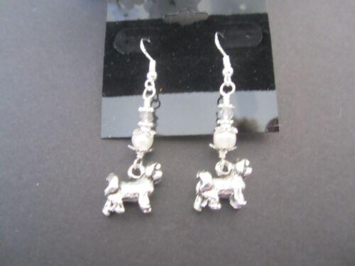Shih Tzu Dog Earrings with Freshwater Pearls /& Swarovski Crystals Lhasa Apso