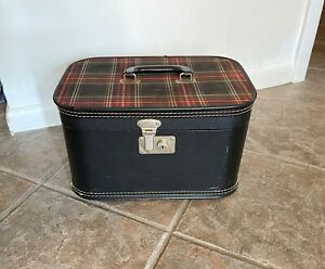 Vintage Luggage Train Case Black w Red Plaid Top Box Shaped 1950's 60's Suitcase