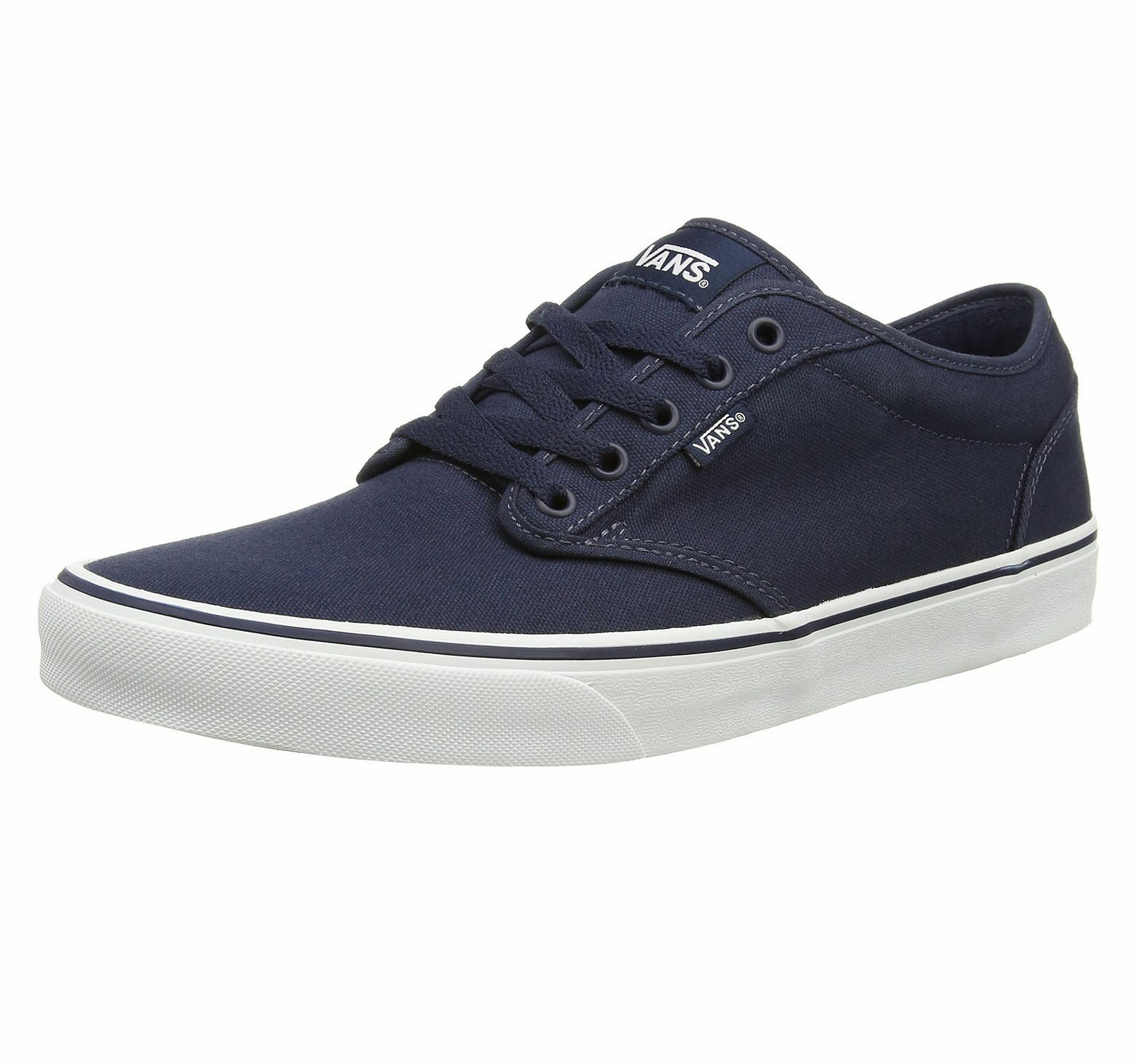 VANS Atwood   Herren Canvas Skater Trainers Plain Schuhes Lace Up Plimsolls Navy Weiß