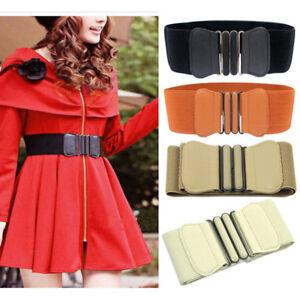 Women PU Leather Hollow Waist Buckle Wide Elastic Cinch Stretch Belt Waistband