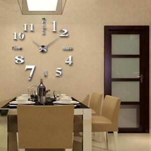 Details zu DIY Wanduhr Wandtattoo Uhr Wanduhr Aufkleber Spiegel Wohnzimmer  Büro Acrylglas