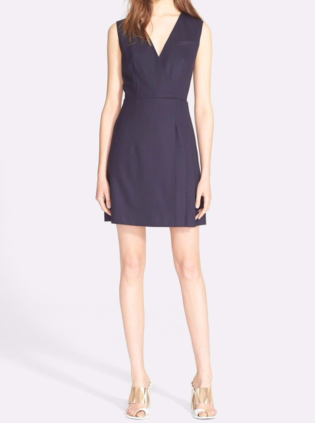 Women's Tory Burch size 14 Navy bluee Wool A-Line Sleeveless Stretch Dress NWT