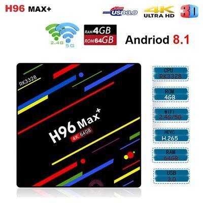 Android 8.1 H96 Max Plus+ 4GB+32GB Smart TV Box Quad-Core 4K WiFi H.265 USB 3.0