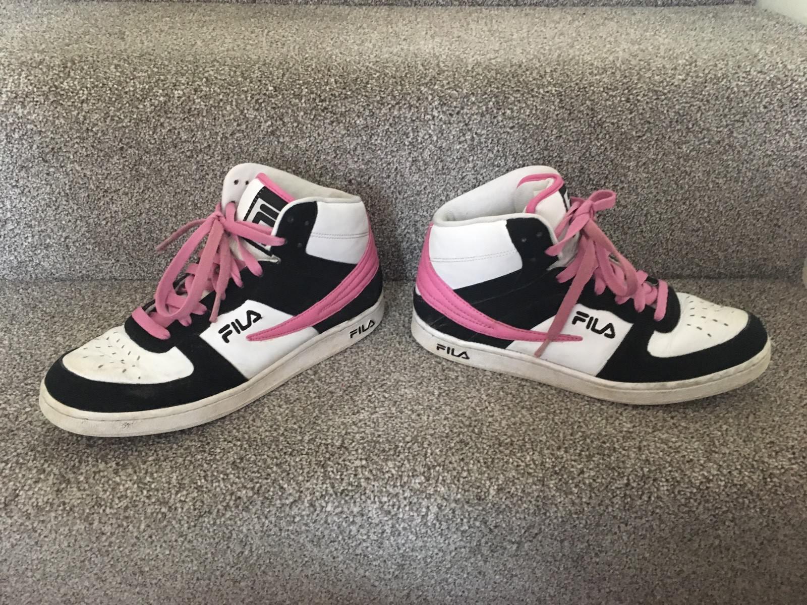 Womens Girls Fila Foggia Hi High Top Trainers Pink White  Seasonal clearance sale