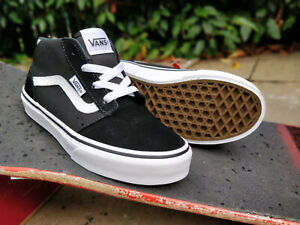 Details about Vans Mid Top Boys Girls Womens Sneakers Trainers Black White Chapman Hi Top New