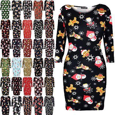 Women Ladies Christmas printed Santa Snowman Snowflake Xmas Mini Bodycon Dress