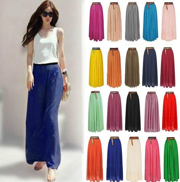 New Women Double Layer Chiffon Pleated Long Maxi Dress Elastic Waist Skirt