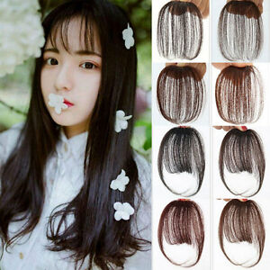 Image Is Loading Real Human Hair Bangs Thin Fringe Clip In