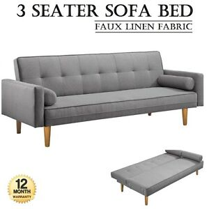 Stylish-amp-Practical-3-Seater-Sofa-Bed-Faux-Linen-Fabric-Lounge-Games-Office