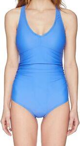 Speedo-Womens-Swimwear-Blue-Size-14-V-Neck-Underwire-One-Piece-Swimsuit-84-922