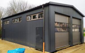 DELTACON Stahlhalle Garage Werkstatt 8 x 12 x LH 4/ FH 5 m isoliert + neu