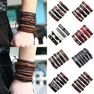 Fashion-Women-Men-Leather-Braid-Tribal-Wrap-Bracelet-Punk-Cuff-Wristband-Bangle