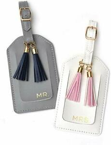 Gartner Studios Mr. & Mrs. Luggage Tags with Tassels White & Gray