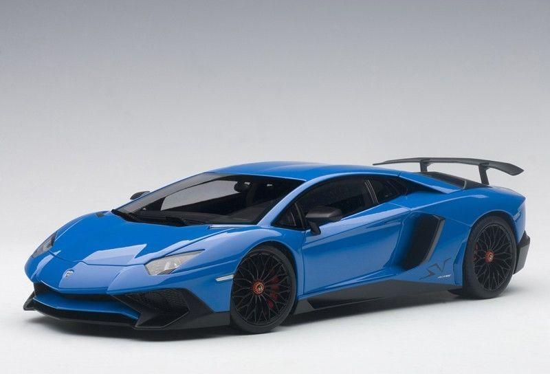 1 18 Autoart 74559 Lamborghini Aventador Lp750-4 Sv blue Lemans bluee 2015