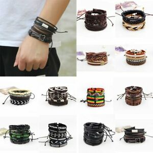 Fashion-Hip-Pop-Vintage-Punk-Leather-Wrap-Braided-Wristband-Bracelet-Bangle-Set