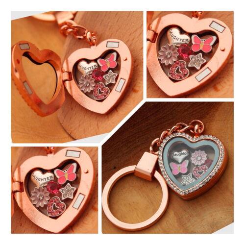 Personalised heart locket keyring gift for mum sister nan Birthday Xmas gifts//