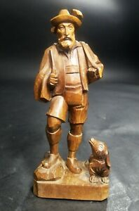 Vintage-German-Black-Forest-Brienz-Wood-Carving-Alpine-Hunter-Man-With-Dog