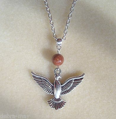 """Pheonix Pendant Brown Goldstone Silver Plated 22"""" Chain Necklace"""