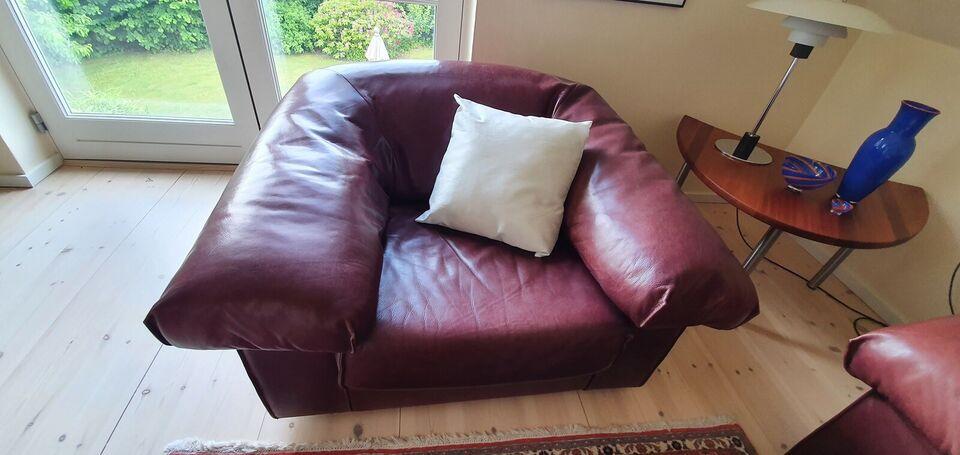 Sofagruppe, læder, 4 pers.