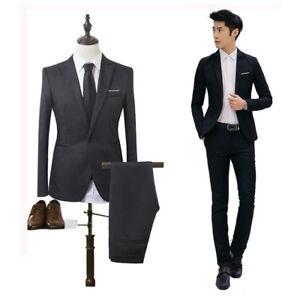 Men-039-s-Casual-Suit-Slim-Fit-Coat-Shirt-Jacket-Button-Pants-Clothes-One-Blazer