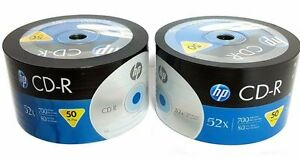 100-HP-Blank-CD-R-CDR-Recordable-Logo-Branded-52X-700MB-80MIN-Media-Disc