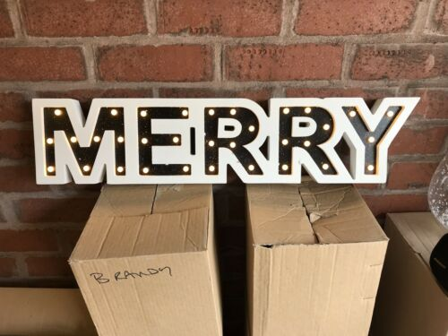 """2 piece """"merry xmas"""" signs battery operated"""