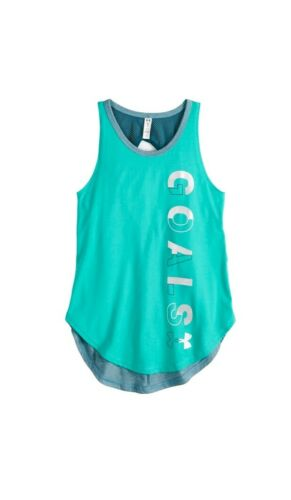 New Youth Girls M Under Armour UA Goals Finale Tank Top Teal Gray Blue Shirt Med