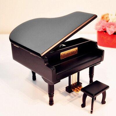 BLACK WOOD PIANO WIND UP MUSIC BOX : Phantom of the Opera ( Music of the Night)