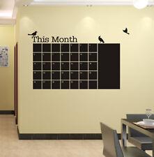 Bird Monthly Planner Calendar Blackboard Removable Wall Sticker UK 166
