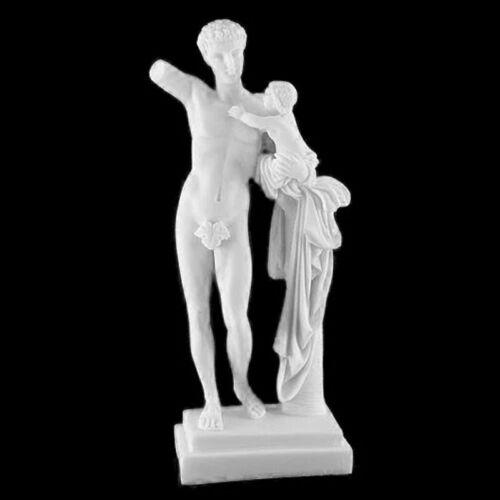 Alabaster Statue Götterbote Hermes mit Kleinkind Dionysos im Arm 24,5cm