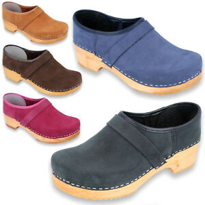 Details About Quality Swedish Style Wooden Clogs Shoes Pull Up Leather Holzclogs Womens Mens