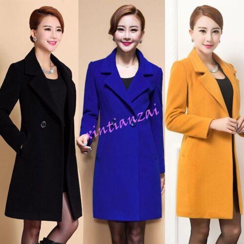 Korean Vigue Womens Slim Fit Lapel Wool Blend Mid Long Coat Jacket Outwear Candy
