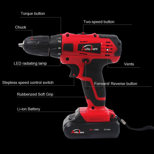 18V//20v Cordless Electric Drill Driver Kit Tool Rechargeable  2x  Li-ion Battery