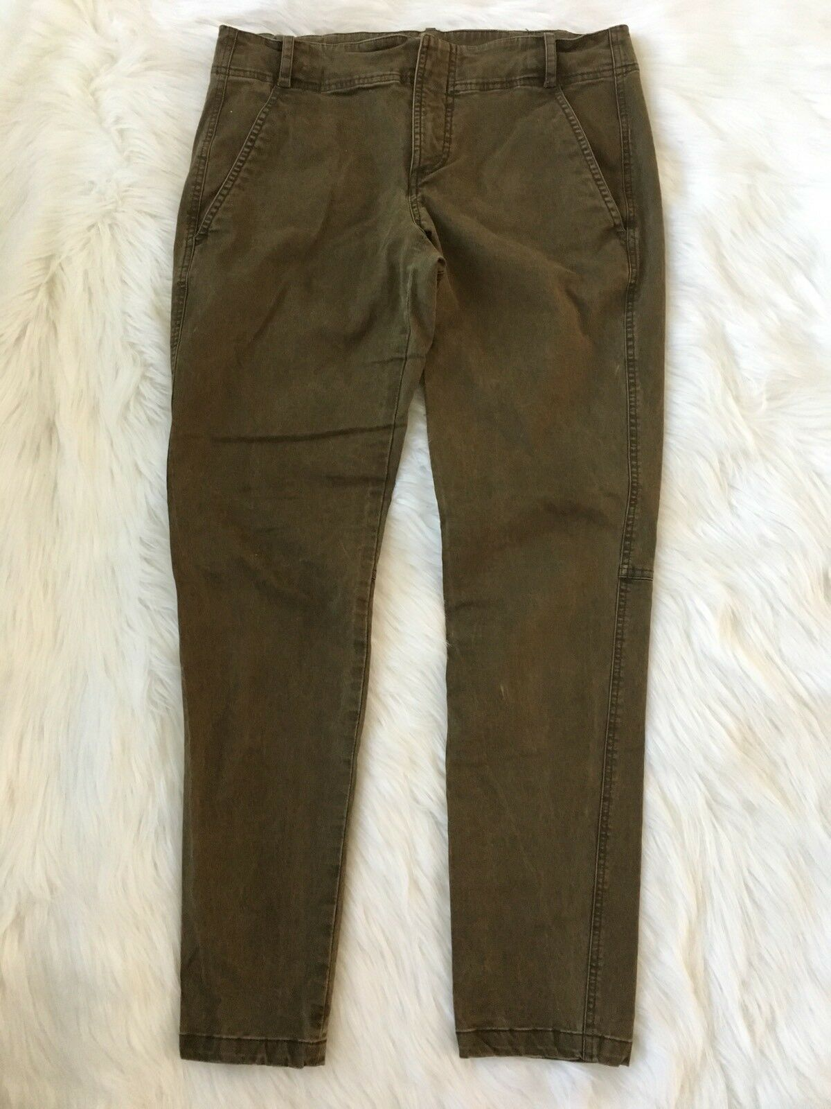 A.L.C. Women's Size 10 Skinny Utility Pants Washed Cotton Blend Olive Green USA