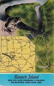 Eureka Springs Ar Banach Island Table Rock Lake Fishing Map Postcard