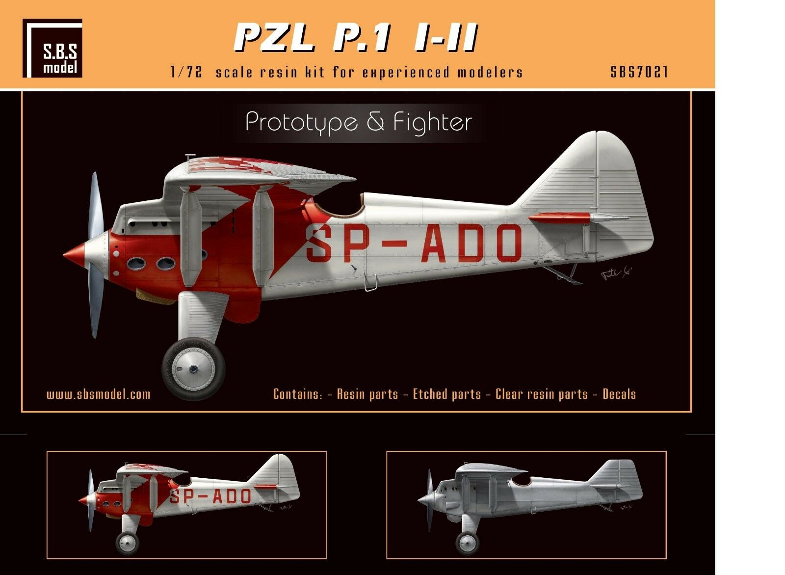 Resin PZL P.1 I II 'Predotype & Fighter' full kit 1 72 SBS Model 7021