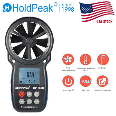 Digital Anemometer Wind Speed Air Flow Rate Measurement High Precision Measurement Easy Compact Portable LCD with Back Light Probe Tool