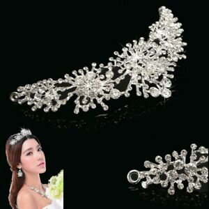 Bridal-Princess-Crystal-Tiara-Hairband-Wedding-Veil-Hair-Accessory-Silver-US