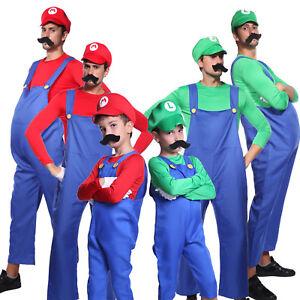 image is loading mens boys super mario luigi brother plumber cosplay