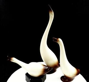 HOWARD-PIERCE-POTTERY-SIGNED-3-PIECE-GEESE-TRIO-SET-1950-1968