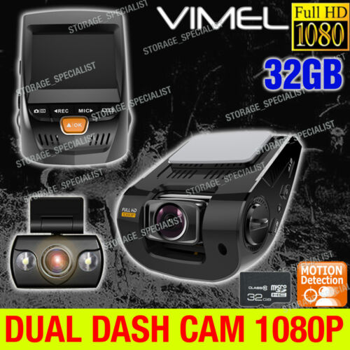 Dual Dash Camera In Car Security Backup Cam 1080P Crash Truck Cameras Blackbox