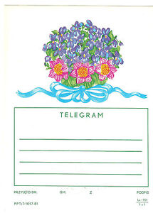 TELEGRAMME-POLOGNE-FLEURS-VIOLETTES-14-5-x-21cm