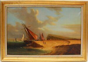Large-antique-oil-painting-on-canvas-coastal-landscape-framed-signed-Dumov