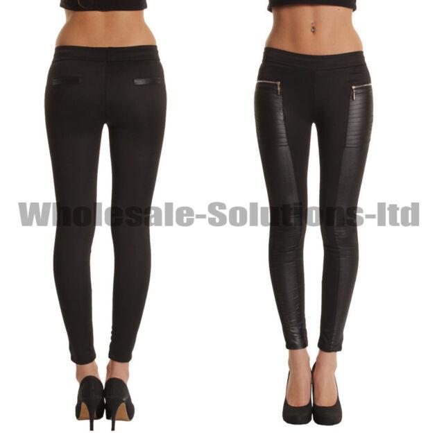 Ladies Leather Look Panel Leggings Jeggings Womens Zip Stretch Trousers Black