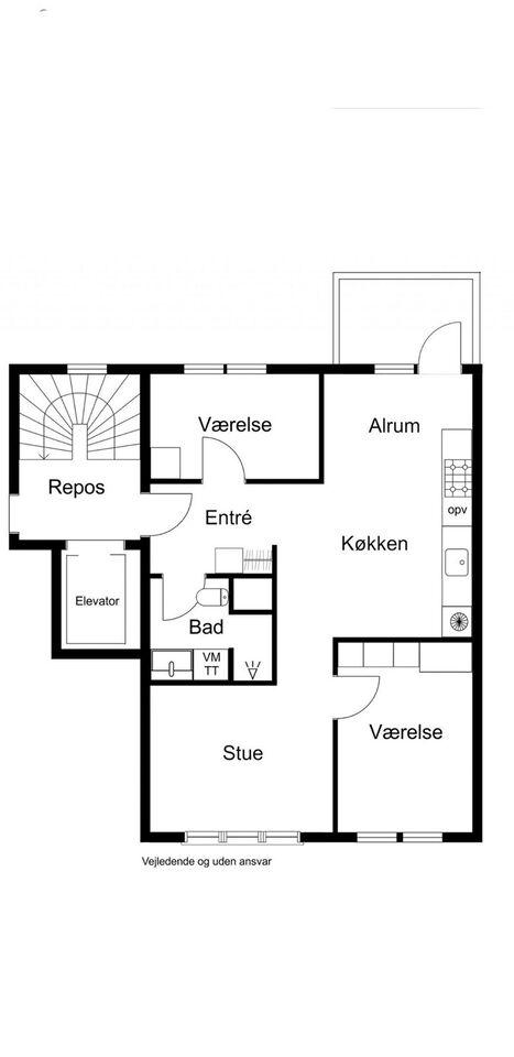 2500 3 vær. lejlighed, 81 m2 4., 1 mdr forudbetalt leje