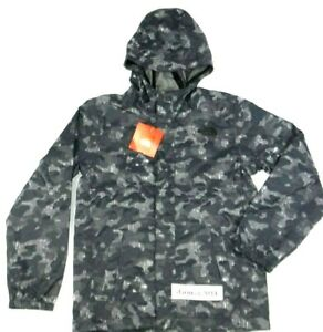 The-North-Face-James-Shell-Boy-039-s-Rain-Hooded-Camo-Black-Size-XL-18-20-Jacket