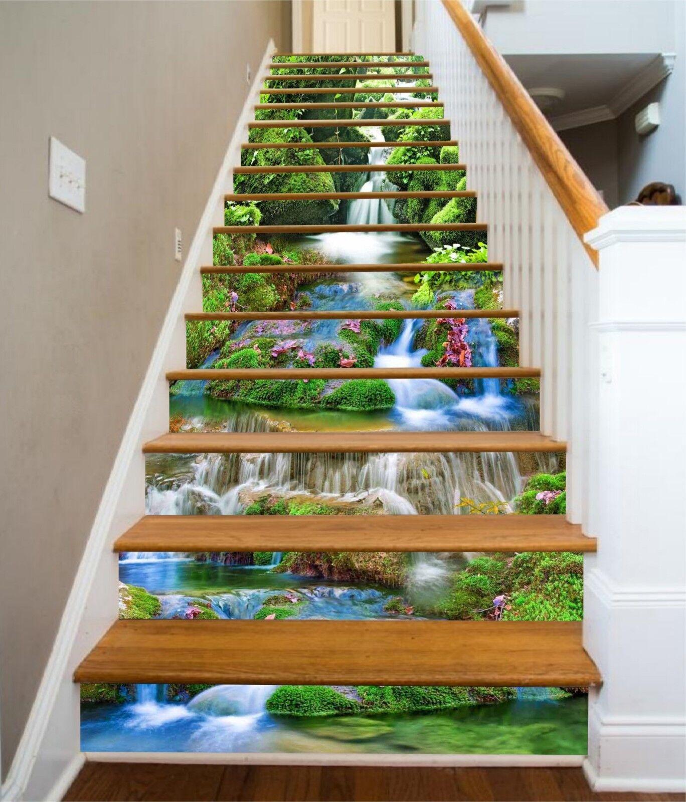 3D Fluss Moos 301 Stair Risers Dekoration Fototapete Vinyl Aufkleber Tapete DE