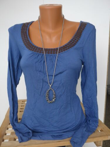Vivien Caron Viskose Langarm Shirt Gr 445 38-50 Blau m Pailletten NEU