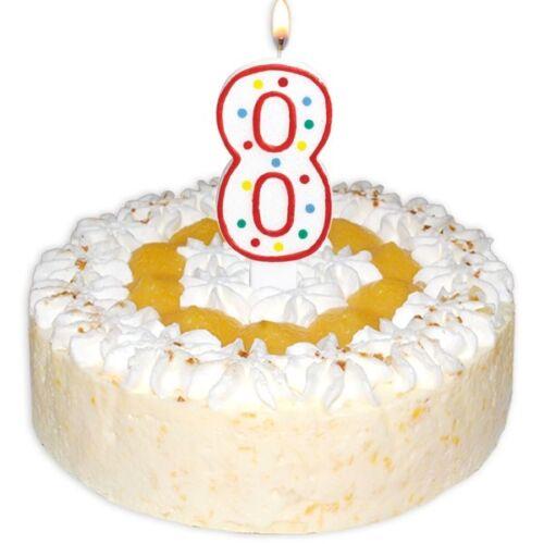 XL Kerze Zahl 8,weiß glitzernd mit bunten Punkten für Geburtstags-Kuchen,-Torte