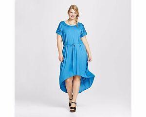 0613afb508f Ava   Viv Plus Sz Embroidered High-Low T-Shirt Dress Blue 95% Rayon ...